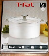 T-FAL CAST IRON DUTCH OVEN 6 QT WHITE - NEW