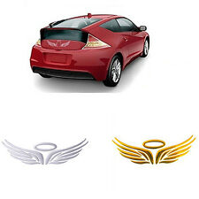 3D Guardian Angel Wings Halo Car Sticker Decal Badge -  Silver Chrome