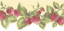 Faux Handpainted Red Strawberry on Yellow Laser Cut Wallpaper Border FK78455DC