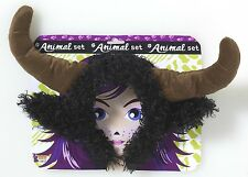 PLUSH ANIMAL BULL HORNS HEADPIECE Ear Hat Costume Mask Cow Steer Viking Prop Set