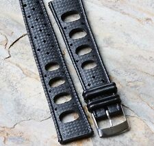 Black rubber 20mm Tropic strap type oval holes for 20mm vintage dive watch