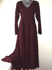 Burdundy VICTORIAN GOTH Hippy Boho jordash Floaty MAXI DRESS F / SZ