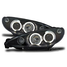 LED Angel Eyes Headlights in Black finish for Peugeot 206 CC 206CC 1998-2002