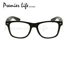 Black Frame and Clear Lens Unisex Wayfarer Style Fashion Glasses Gloss Finish