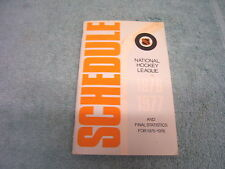 1976-1977 NATIONAL HOCKEY LEAGUE OFFICIAL SCHEDULE & STATS FROM '75-'76 NHL