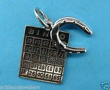 Vintage silver BINGO PLAYING CARD & HORSESHOE GOOD LUCK LOT charm #F
