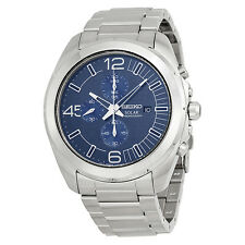 Seiko Solar Chronograph Blue Dial Stainless Steel Mens Watch SSC201