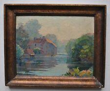 Tableau Paysage Moulin de Lussault sur Loire peinture signée Achille G. Marchal