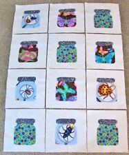 """Set of 12 Fun Insects Butterflies Ladybugs  Jars 6"""" x 6""""  Cotton Quilt  Blocks"""
