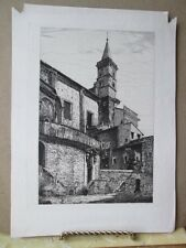 Vintage Print,FINE ETCHING OF EUROPEAN BELL TOWER,Bettinger,Believed Holy Land