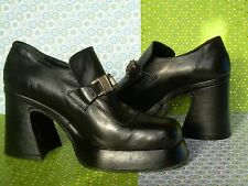 VINTAGE WOMENS SHOES~ GRUNGE CHUNKY PLATFORM~BLACK LEATHER~ITALY~ROUND TOE~FUN