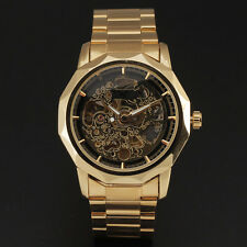 Gorgeous Golden Skeleton Dial Mechanical Wrist Watch Men Luxury Brand Reloj Uhr