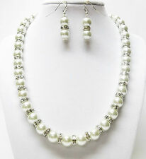 Crystazzi White Glass Pearl w/Rondelle Crystal Rhinestone Necklace & Earrings