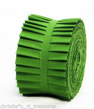 """KONA SOLIDS FABRIC GRASS GREEN #1703 Jelly Roll Cotton Quilting 20 2.5"""" Strips"""