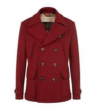 Burberry Brantford Double Breasted Pea Coat Maroon Red Made in England LARGE
