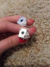 FREE GIFT BAG Mens Silver Poker Cards Game Betting Cufflinks Cuff Links Jewelry