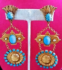 O-MY! Askew London EGYPTIAN REVIVAL Scarab Turquoise Stone Pearl EARRINGS Signed
