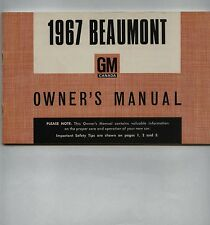 1967 BEAUMONT OWNERS MANUAL(CANADIAN CHEVELLE-SIZED PONTIAC) - NEW, UNRESERVED!!