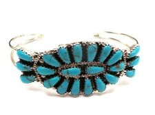 Sterling Silver Navajo Cluster Bracelet Turquoise By Rosanna Williams