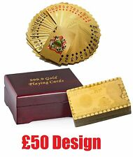 24K ££ GOLD PLATED PLAYING CARDS POKER DECK 99.9% PURE Certified Wooden GIFT BOX