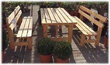 Holz Möbel Sitzgruppe massiv Garten Bierzelt Garnitur Tisch Bank Rückenlehne Neu