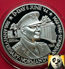 1991 TURKS & CAICOS 20 Crowns D DAY Dwight D. Eisenhower Silver Proof Coin