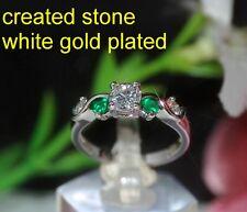 Esmeralda 2mm 4mm Diam 0NDS anillo de la eternidad tamaño n 7