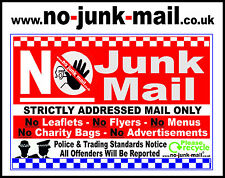 No Junk Mail Window Sticker / Sign, For Out Door Use On Glass Window Panel (JSQ)