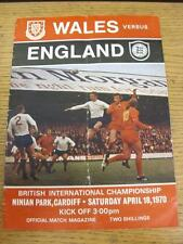 18/04/1970 Wales v England [At Cardiff City] (Folded, Team Changes). Item in ver