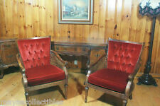 Antique French Provincial Red Velvet & Cane Arm Chairs American Pair 1920-1950