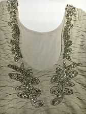 Free People Nude Beaded Dress Small