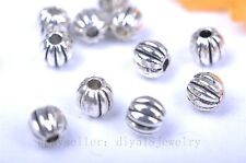 50pcs 4mm pumpkin charm beads silver plated metal spacer diy jewelry bead 7002