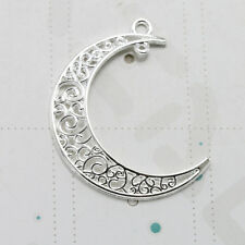 12pc Retro Fashion Bright Silver Tone Hollow Moon Earring Findings Charm Pendant