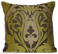 Green and Brown Cushion Cover Silk and Linen Woven Osborne & Little Fabric
