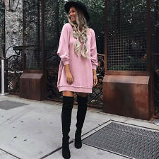 Womens Long Sleeve Jumper Tops Pullover Sweater Shirts Tunic Short Mini Dress