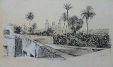 EUGEN HERSCH 1887-1967 ORIGINAL SIGNED HIGHLY DETAILED LANDSCAPE INK DRAWING