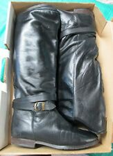 Vintage SANTANA Black Leather Equestrian Style Boots Knee High 1980s in Box Sz 9