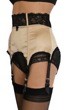 Satin 6 Strap Suspender Belt / Waspie with Lace High Waist and Front Boning