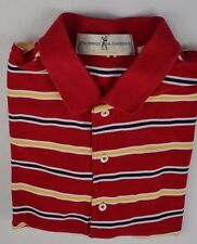 Fairway and Greene Golf Shirt Size Large L Red w/White Yellow & Blac Striped S/S