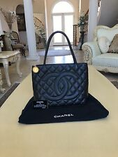 100% Authentic CHANEL 24K Gold Medallion Quilted Black Caviar Flap Jumbo Bag