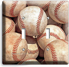 BASEBALL OLD RUSTIC BALLS DOUBLE LIGHT SWITCH WALL PLATE COVER SPORT ROOM DECOR