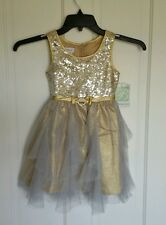 NWT Girls BONNIE JEAN Formal Pageant Frilly Dress Gold Silver Sequin MSRP $76.00