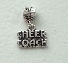 CHEER COACH TIBETAN DARK SILVER  CHARM  W/EUROPEAN BAIL -METAL ALLOY-CHEERLEADER