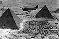 New 5x7 World War II Photo: Supply Transport Airplane Over the Pyramids, Egypt