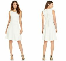 NEW!   Calvin Klein SZ 10   Ivory White Jacquard A-Line Skater Fit & Flare Dress