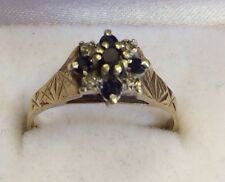 Vintage 9ct Gold Hallmarked Sapphire And Diamond Cluster Ring Size N