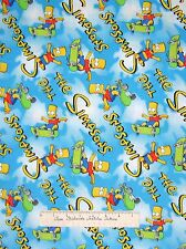 Camelot Cotton Fabric - Bart Simpson Skateboard & Logo on Sky Blue YARDS