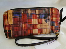NEW DONNA SHARP RUSTIC PLAID PATCH ZIPPERED WALLET Rust Navy Tan