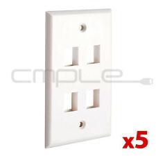 5 Pack Lot 4 port Hole Keystone Jack Wall Plate - White