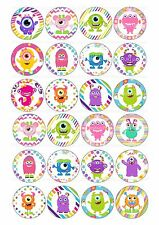24 icing cake toppers decorations birthday Funky funny cute monsters mix